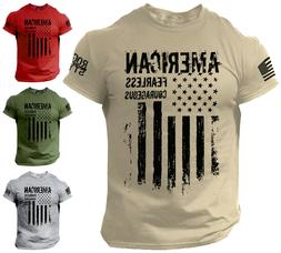 American T Shirt Fearless Courageous Distressed Flag Militar