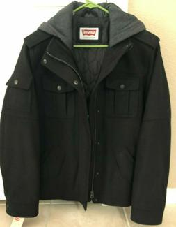 Levi's Men's Black Heather Gray Lined Wool Blend Military St