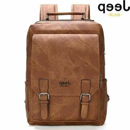 """Jeep Buluo Mens 15.6"""" Laptop Leather Backpacks Travel Multi"""