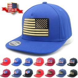 Snapback Hats with USA Flag for Mens Cotton Flat Brim Caps C