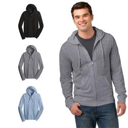 District DT1100 Young Mens Jersey Full-Zip Up Hoodie Light W